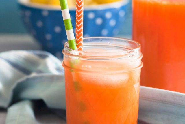A refreshing twist on classic lemonade, this carrot ginger lemonade is sure to be a family favorite! Visit GoodieGodmother.com for this easy lemonade recipe.