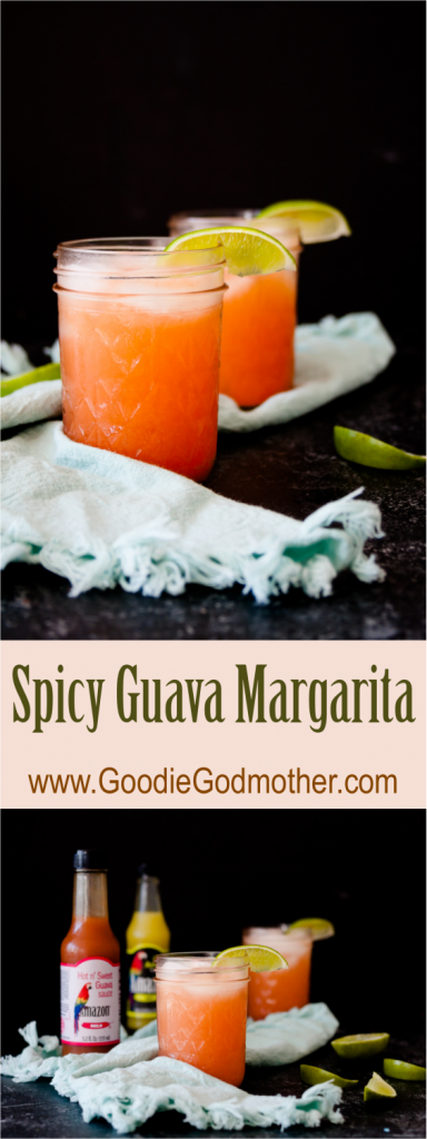 Sweet meets heat with a Caribbean twist in this easy spicy guava margarita recipe! * Recipe on GoodieGodmother.com #ad #MomBlogTourFF