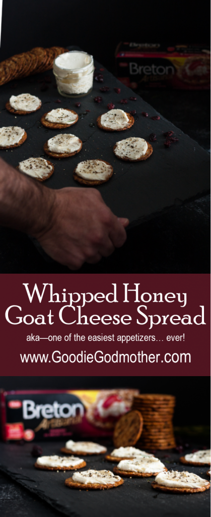 #ad #BetterwithBreton - Take 5 minutes to whip up this whipped honey goat cheese spread and thank me later! It's the perfect appetizer for stress-free hosting! * GoodieGodmother.com