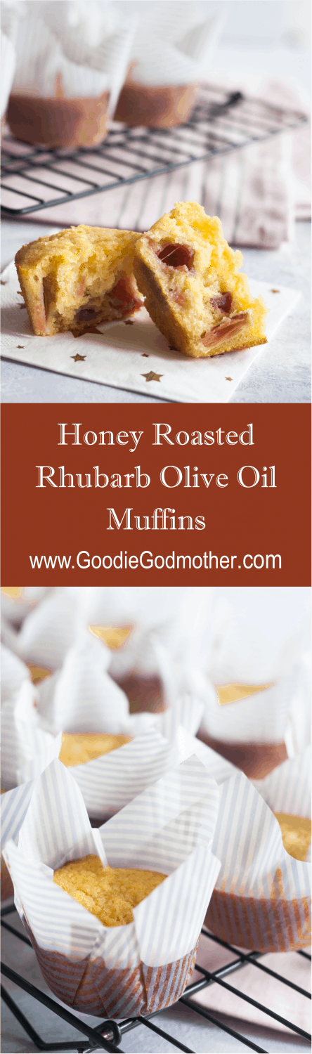 Honey roasted rhubarb olive oil muffins - lightly sweetened olive oil muffins are studded with tart sweet honey roasted bites of rhubarb. * Recipe on GoodieGodmother.com