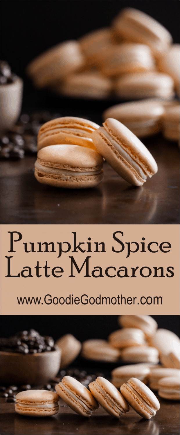 Pumpkin spice latte macarons are a fun take on a classic fall coffeehouse drink! * Recipe on GoodieGodmother.com