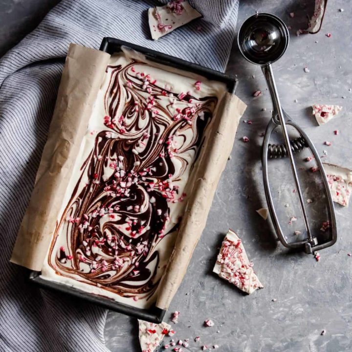 No churn peppermint bark ice cream is a perfect warm weather Christmas dessert recipe! * Recipe on GoodieGodmother.com