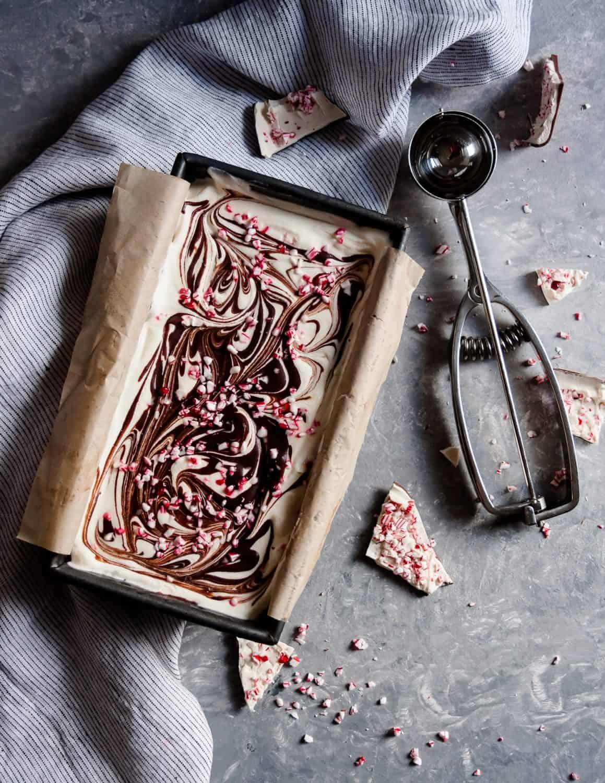 No churn peppermint bark ice cream is a perfect warm weather Christmas dessert recipe!* Recipe on GoodieGodmother.com