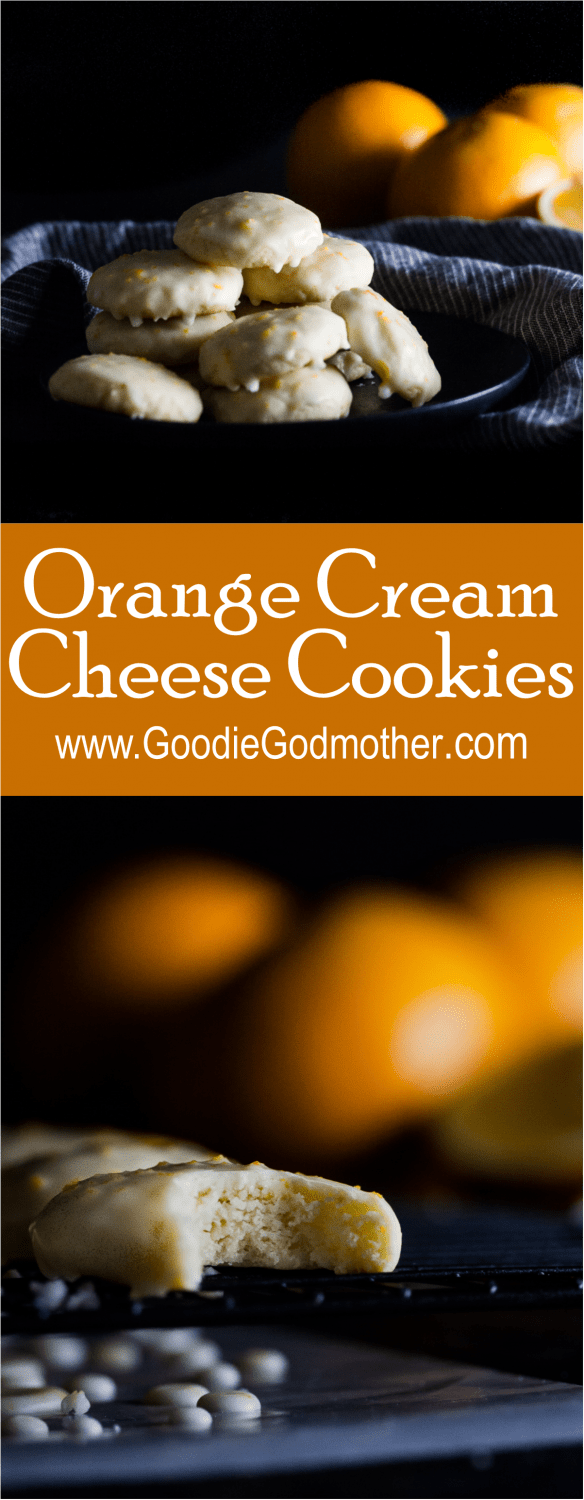 Orange cream cheese cookies are a cake like cookie perfect for citrus lovers. Naturally flavored with the perfect amount of fresh orange and topped with an easy orange cookie glaze, they're so easy to eat and share! * GoodieGodmother.com
