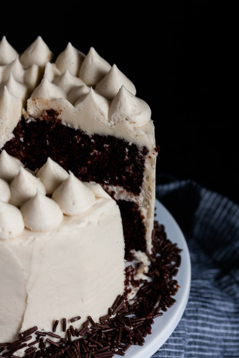 A six inch chocolate cake is the perfect size for smaller groups! Make this delicious chocolate cake recipe and pair it with a light and nutty tahini buttercream frosting. * Recipe on GoodieGodmother.com