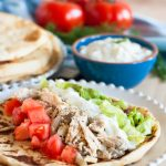 When time is short, but you need an easily customized healthy meal, make some slow cooker chicken gyros! Recipe includes instructions for the instant pot too if you're short on time! * Recipe on goodiegodmother.com
