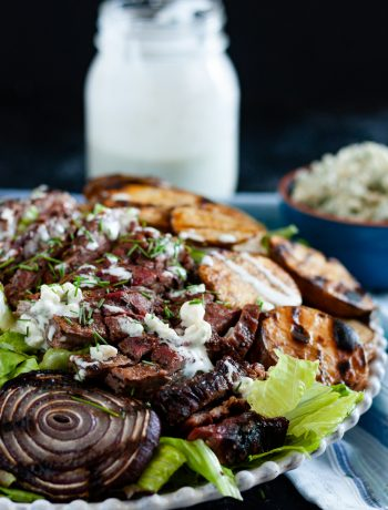 Fire up the grill and whip up a steakhouse-worthy treat at home. This grilled skirt steak salad with blue cheese dressing is a hearty salad for the steak-loving crowd. * Recipe on GoodieGodmother.com