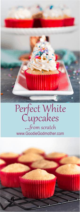 AKA the *original* White Cake Recipe From Scratch - these perfect white cupcakes from scratch rise with a beautiful dome every time. This is a versatile, crowd-pleasing, easy vanilla cupcake recipe. * Recipe on GoodieGodmother.com