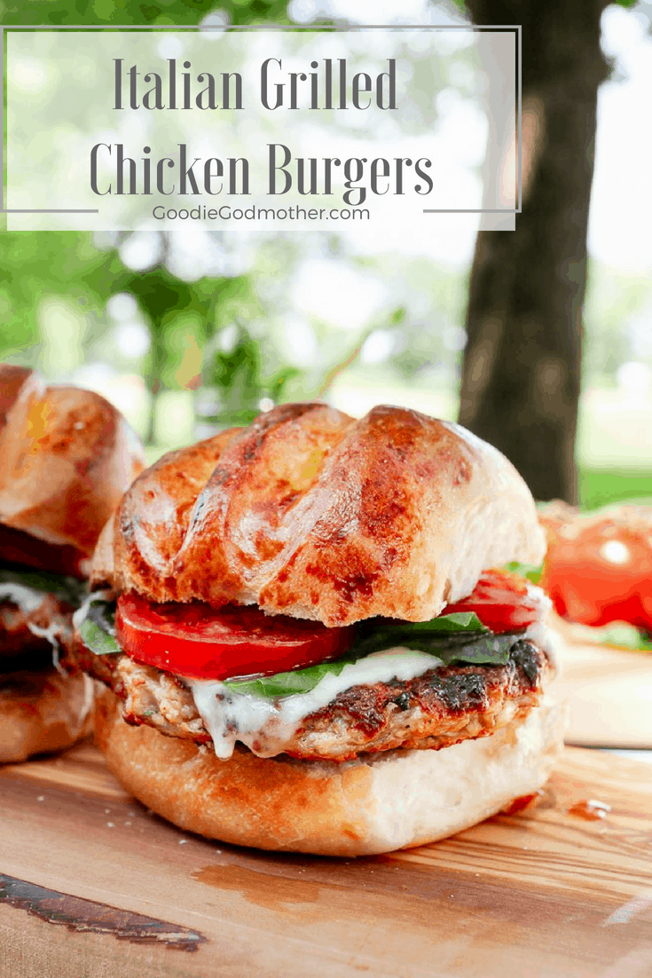 Bring your favorite Italian flavors to the grill this summer with this Italian Grilled Chicken Burgers Recipe! This is a sponsored conversation written by me on behalf of Sargento®. Recipe on GoodieGodmother.com #burgers #summer #grillingrecipes #grilledchicken #chickenrecipe #ad #goodiegodmother