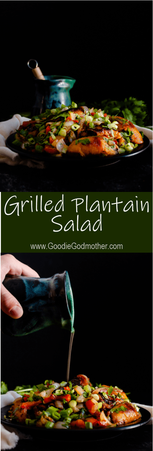 A delicious make-ahead side, this grilled plantain salad can be made indoors on the grill pan or outdoors on a charcoal or gas grill! * Recipe on GoodieGodmother.com