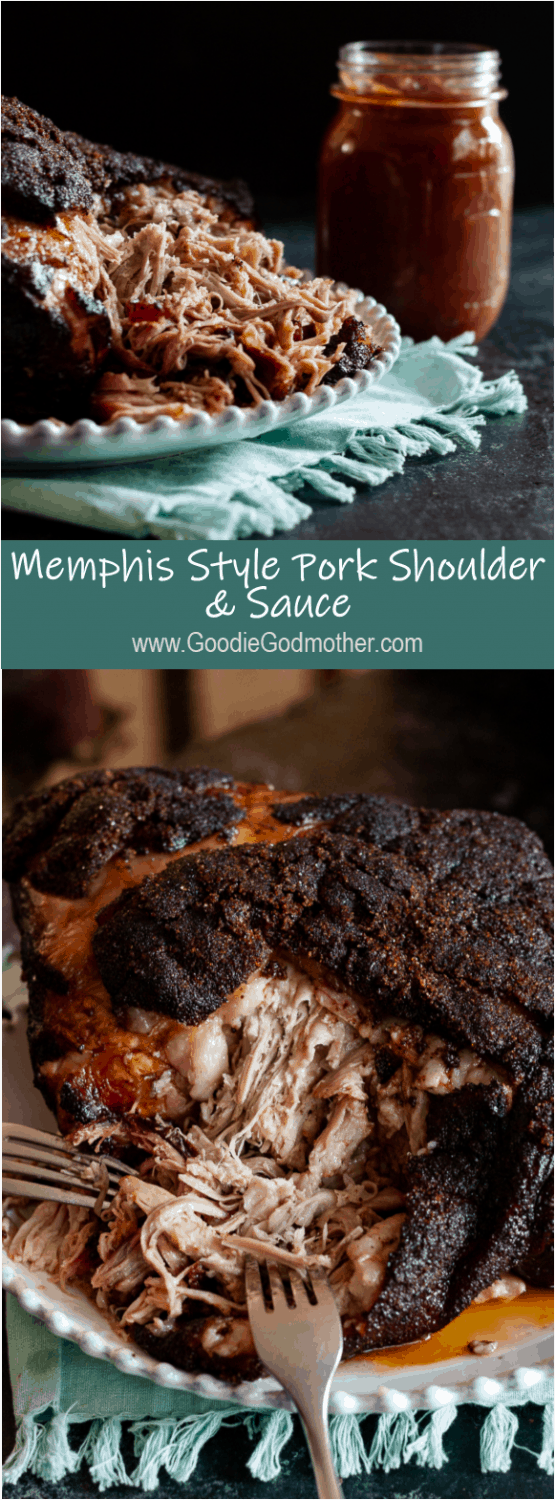 Memphis style pork shoulder is a must make barbecue recipe! It's so flavorful, especially when paired with the homemade bbq sauce, and leftovers are super versatile. * GoodieGodmother.com #recipe #porkshoulder #bbq #barbecue #smokerrecipe