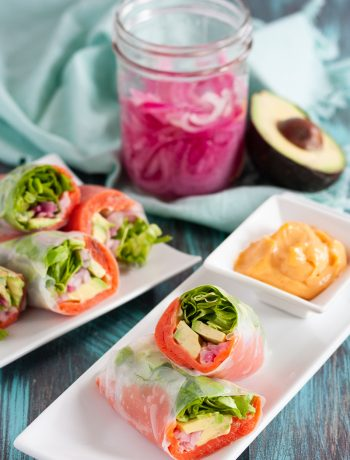 Smoked salmon spring rolls are a quick and easy light recipe you can have ready in minutes! Great for those on low carb diets or for when you just don't feel like bread or a tortilla. * Recipe on GoodieGodmother.com