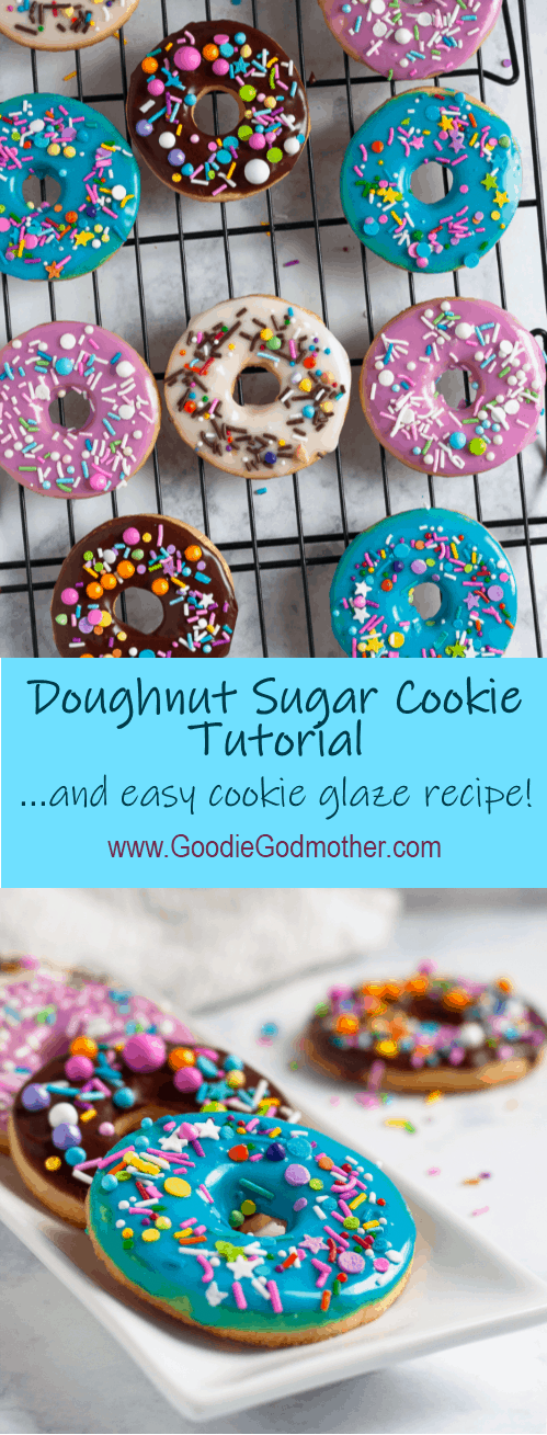 Whip up a batch of colorful iced sugar cookies in no time with this doughnut sugar cookie tutorial and easy cookie glaze recipe! It's so easy to make these colorful cookies - even if you've never decorated a sugar cookie before. * GoodieGodmother.com #cookiedecorating #cookieglaze #sugarcookies
