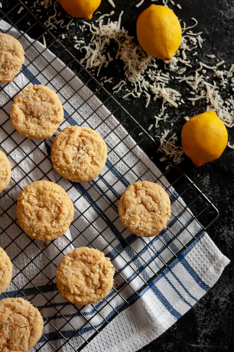 Need a recipe to use up a lot of egg yolks? These lemon coconut cookies are just the recipe! These lightly sweetened lemon cookies are soft, rich, and a little unique with the added coconut. * Recipe on GoodieGodmother.com
