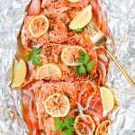 Smoked paprika herb salmon grilled in foil is a flavorful, almost effortless main dish. Season, cook, serve right in the foil. Get this foil grilled salmon recipe on GoodieGodmother.com
