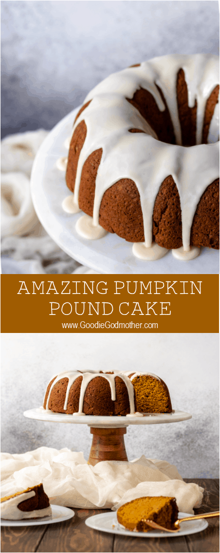 Pumpkin lovers rejoice! This amazing pumpkin pound cake recipe is not only easy to make, but moist, flavorful, and topped with a delicious maple glaze.  * Recipe on GoodieGodmother.com