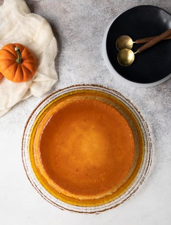 Pumpkin flan is a dessert even your abuela would approve! Just the right amount of pumpkin and spices with that classic flan flavor. * Recipe on GoodieGodmother.com