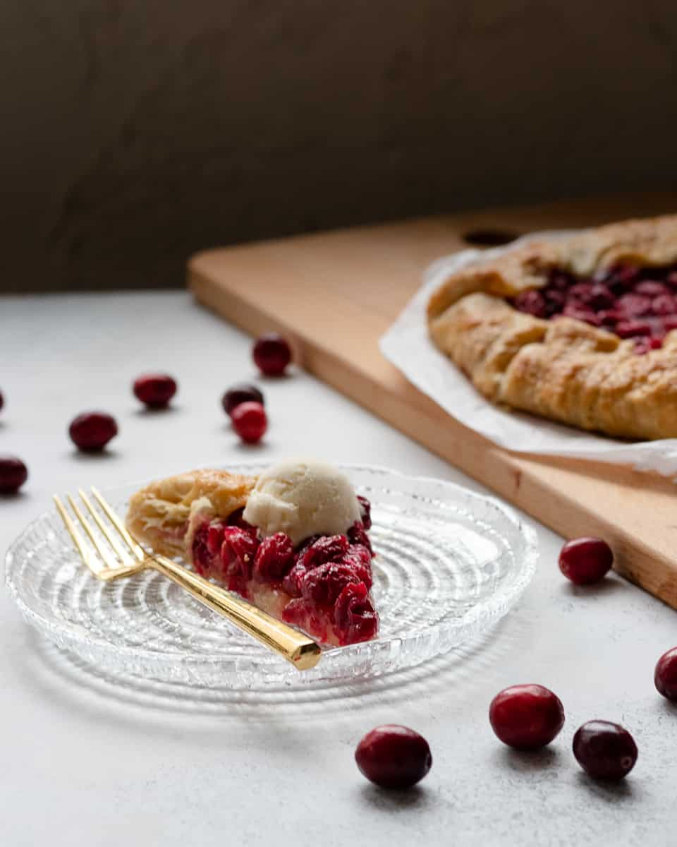 This tart sweet fresh cranberry galette is an easy alternative to a traditional pie. A little less waiting, great balance of fruit and crust, and ice cream's favorite fall friend. * Recipe on GoodieGodmother.com