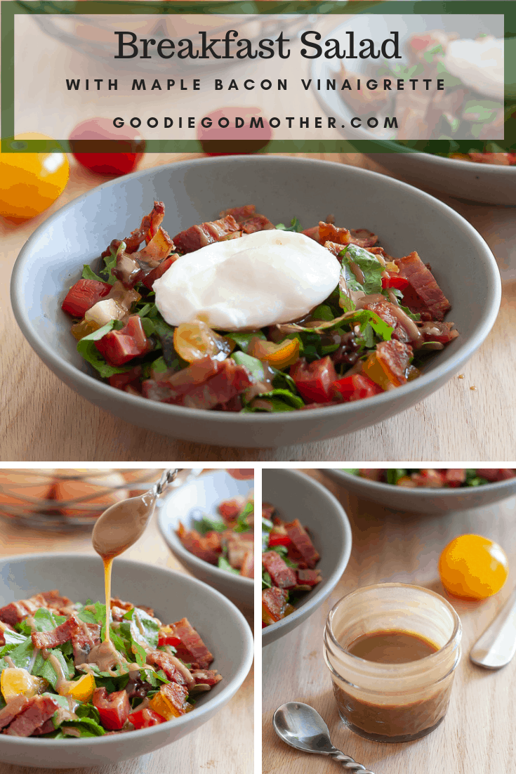 Add greens to your breakfast with this delicious breakfast salad recipe! The maple vinaigrette is amazing... #breakfast #salad #lowcarb #bacon