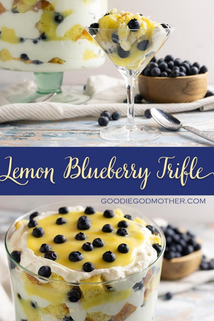 Easy, beautiful, and delicous, you can make this lemon blueberry trifle from scratch, or take a few shortcuts for a stunning semi-homemade dessert! * Recipe on GoodieGodmother.com #trifle #lemon #easydessert #springdessert