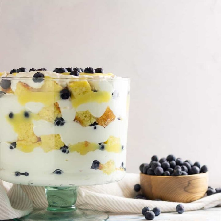 Easy, beautiful, and delicous, you can make this lemon blueberry trifle from scratch, or take a few shortcuts for a stunning semi-homemade dessert! * Recipe on GoodieGodmother.com