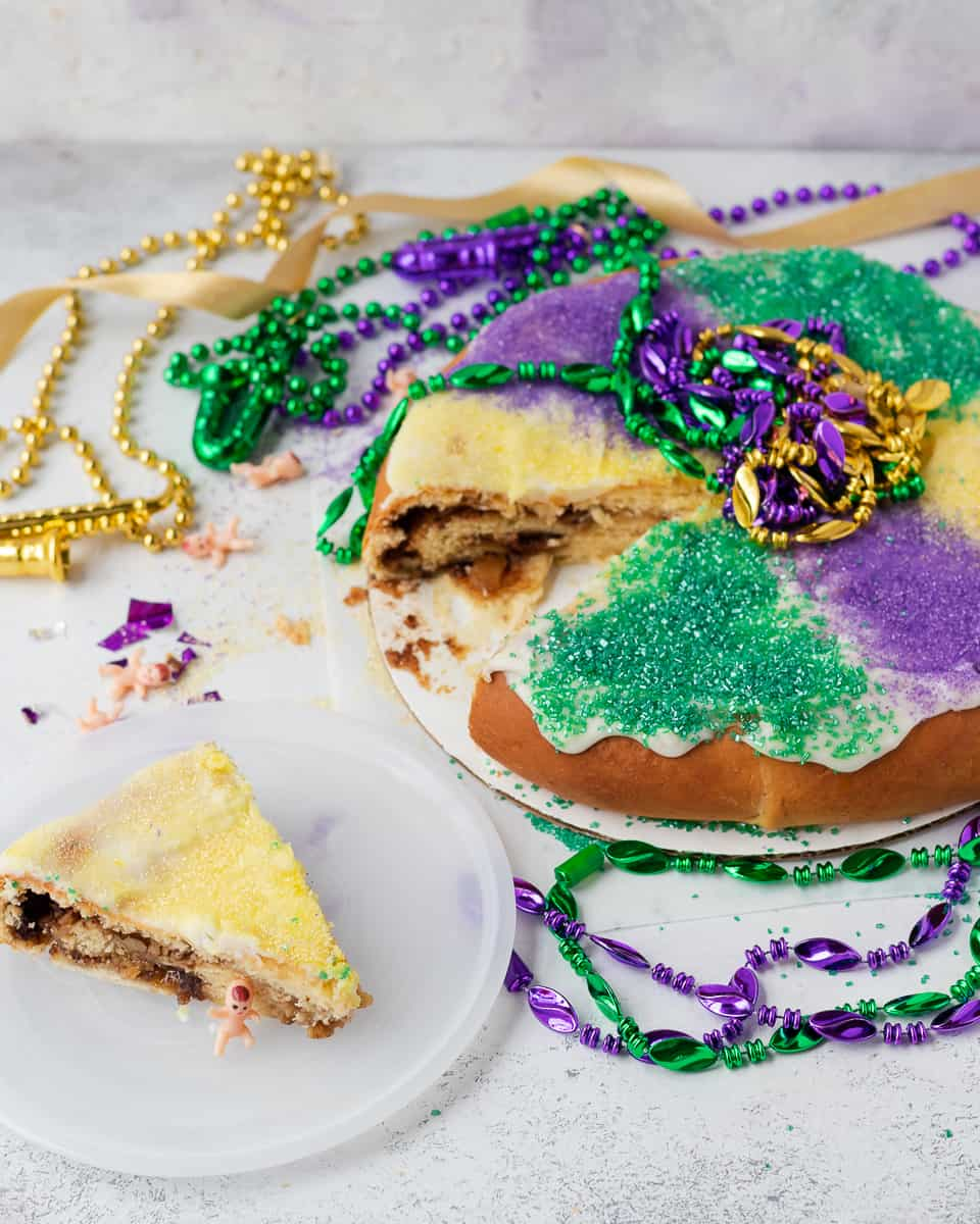 Celebrate Mardi Gras anywhere with this New Orleans king cake recipe! The BEST king cake recipe I've tried. * Recipe on GoodieGodmother.com
