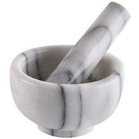 "Greenco Marble Mortar and Pestle, 4.5"", White/Gray"