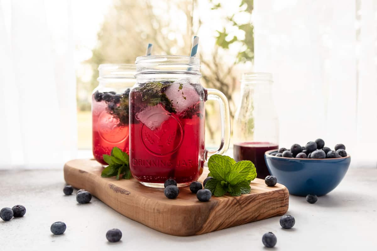 A refreshing and beautiful summer inspired punch, this blueberry mint mocktail is a tasty way to stay cool while the weather warms up. * Recipe on GoodieGodmother.com
