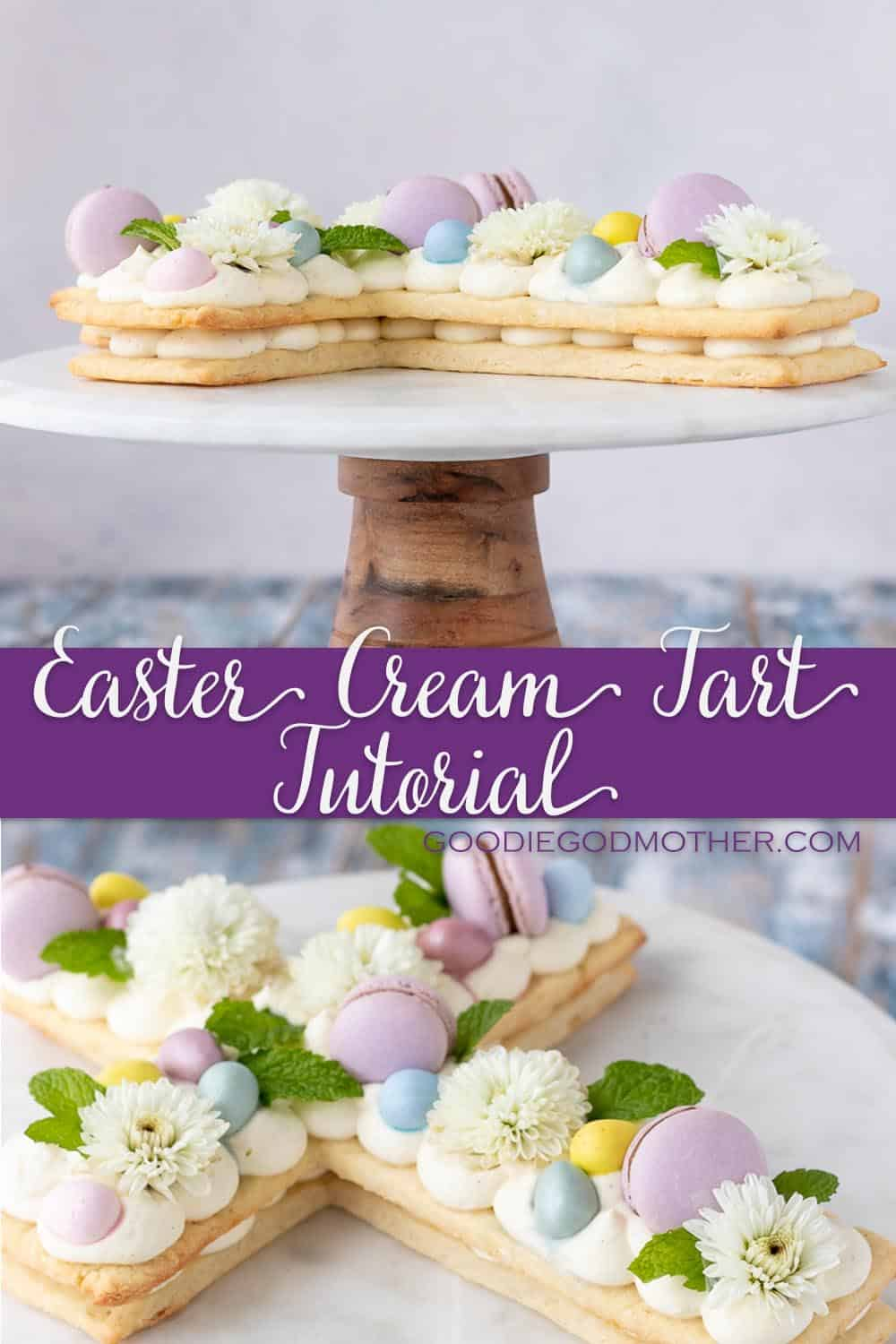Make this beautiful Easter cream tart for your spring table! Post includes a video tutorial with assembly tips for beautiful results every time.  * Recipe on GoodieGodmother.com