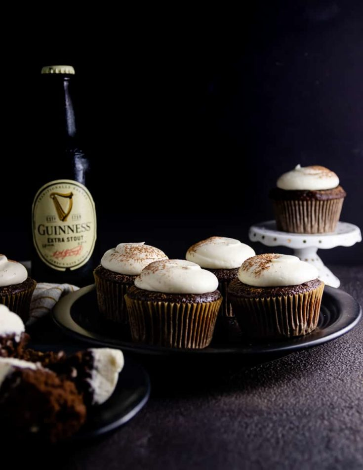 This Guinness cupcake recipe isn't your average beer cupcake! A rich chocolate batter and boozy cream cheese frosting make these beer cupcakes the first to go at a Saint Patrick's Day party! * Recipe on GoodieGodmother.com