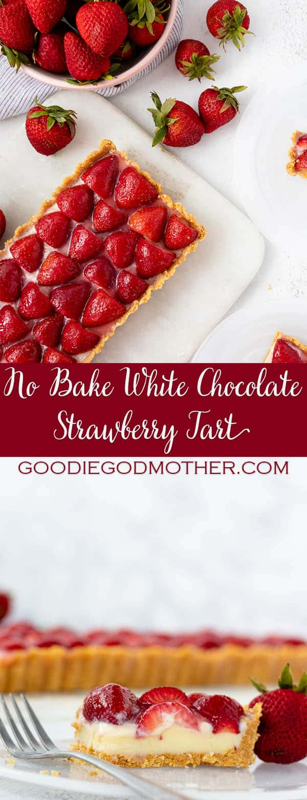 This no bake white chocolate strawberry tart is an easy and absolutely amazing recipe. It takes no more than 30 minutes to put together. A perfectly summery strawberry tart made with a buttery graham cracker crust, white chocolate ganache filling, and fresh summer berries. #chocolate #grahamcracker #nobake #tartrecipe
