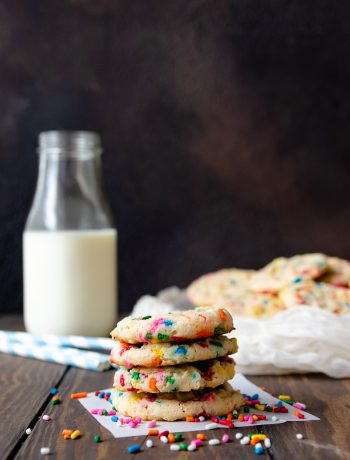 Soft and tender, these cake batter condensed milk cookies prove everything is better with sprinkles! This is a great recipe to use up leftover condensed milk. * Recipe on GoodieGodmother.com