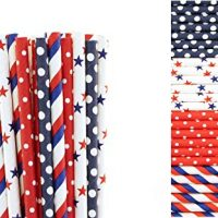 4th of July Paper Straw Mix- Polka Dot, Stars, Striped (25)