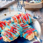 Add a little pop to your dessert table with these Fourth of July Rice Krispie Treats! These popsicle shaped crispy rice treats are a perfect no bake patriotic dessert.