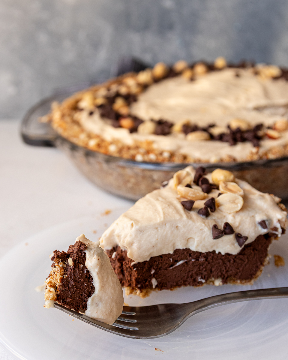 peanut butter cup pie recipe on a fork