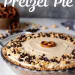 Salty and sweet, this light no bake chocolate peanut butter pretzel pie makes a great special dessert on a hot day! #dessertideas #nobake #peanutbutter #chocolate #easypies #easyrecipe #foodideas
