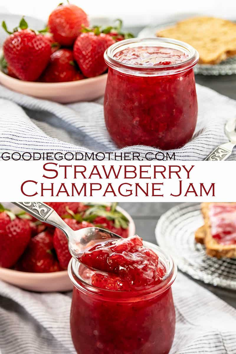 Low sugar no pectin strawberry champagne jam is an incredibly fruity homemade jam recipe you can make in under an hour! #lowsugarjam #strawberryjam #jam