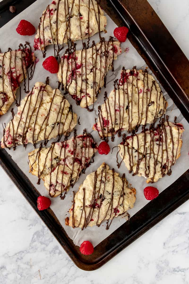 chocolate drizzle on chocolate chip scones