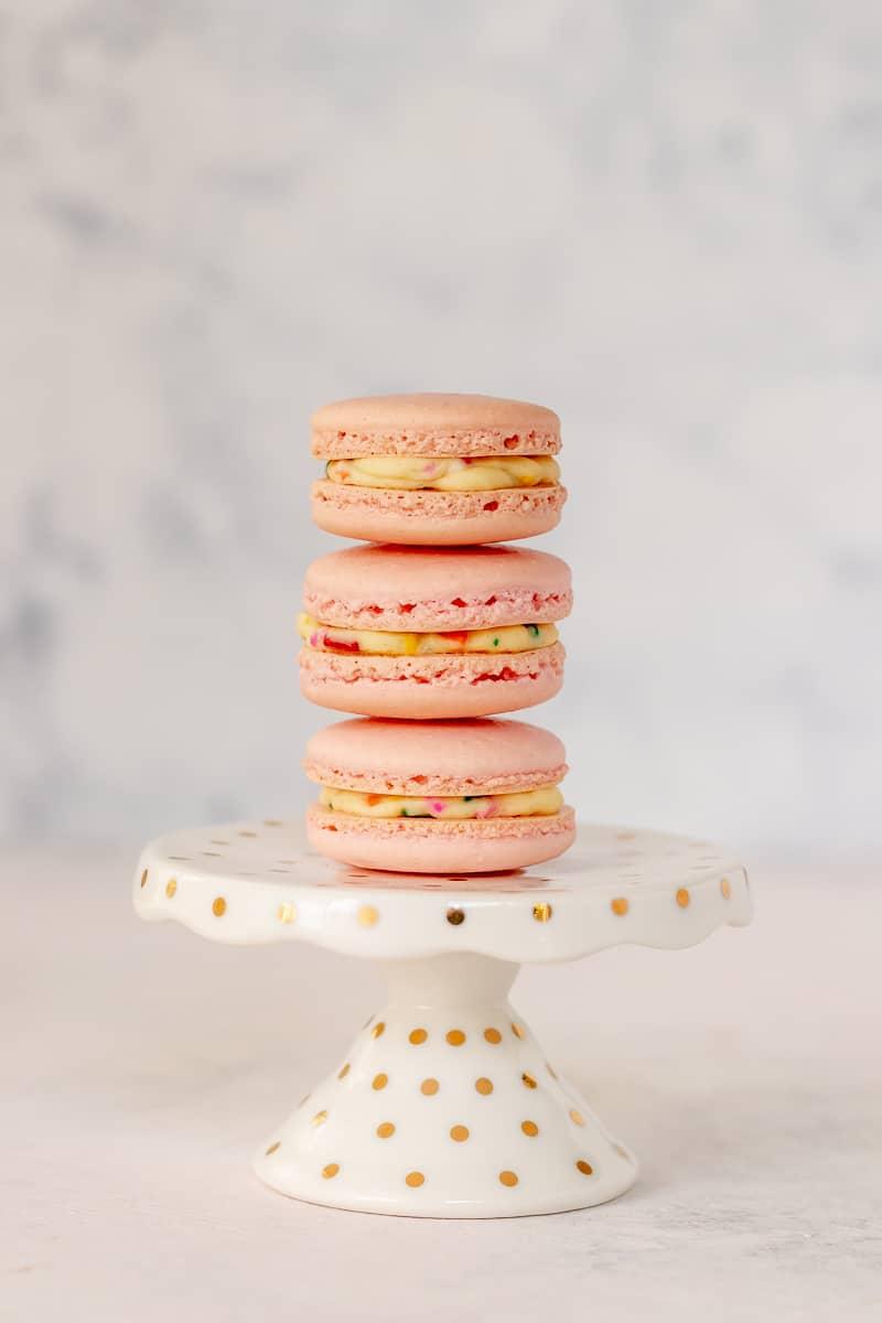 mini funfetti macaron tower