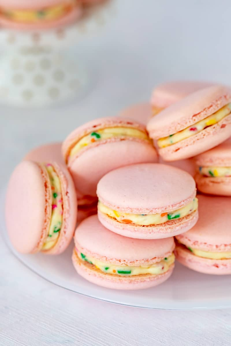 plate of cake batter macarons