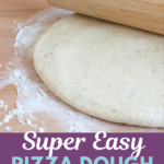 Make your own super easy pizza dough from scratch in just minutes. Freezer friendly, this dough crisps nicely and is so versatile!