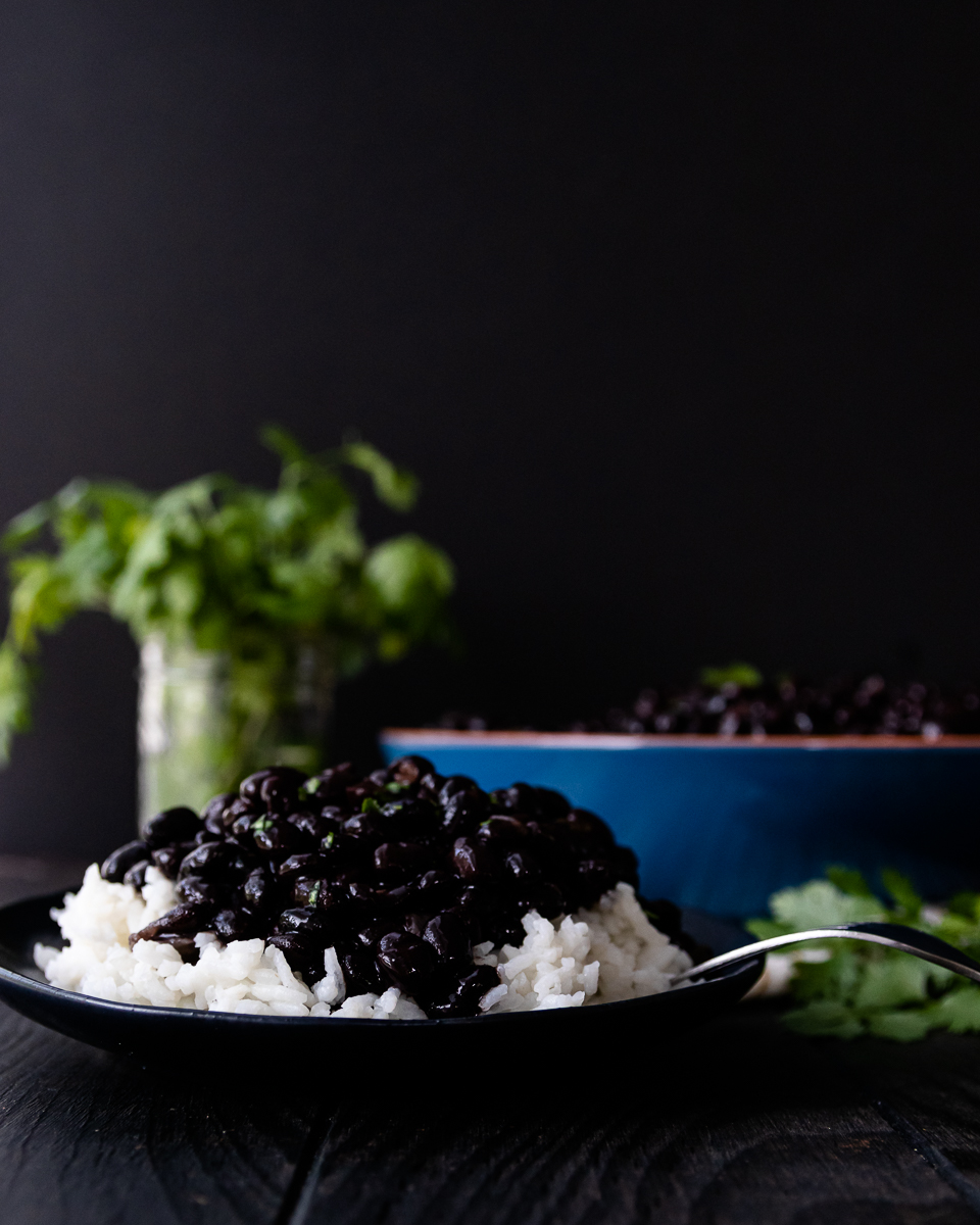 serving suggestion for cuban black beans as a side. Served over long grain white rice