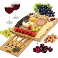 CTFT Cheese Board and Knife Set Bamboo Charcuterie Platter & Serving Tray for Cheese,Wine, Crackers, Brie and Meat