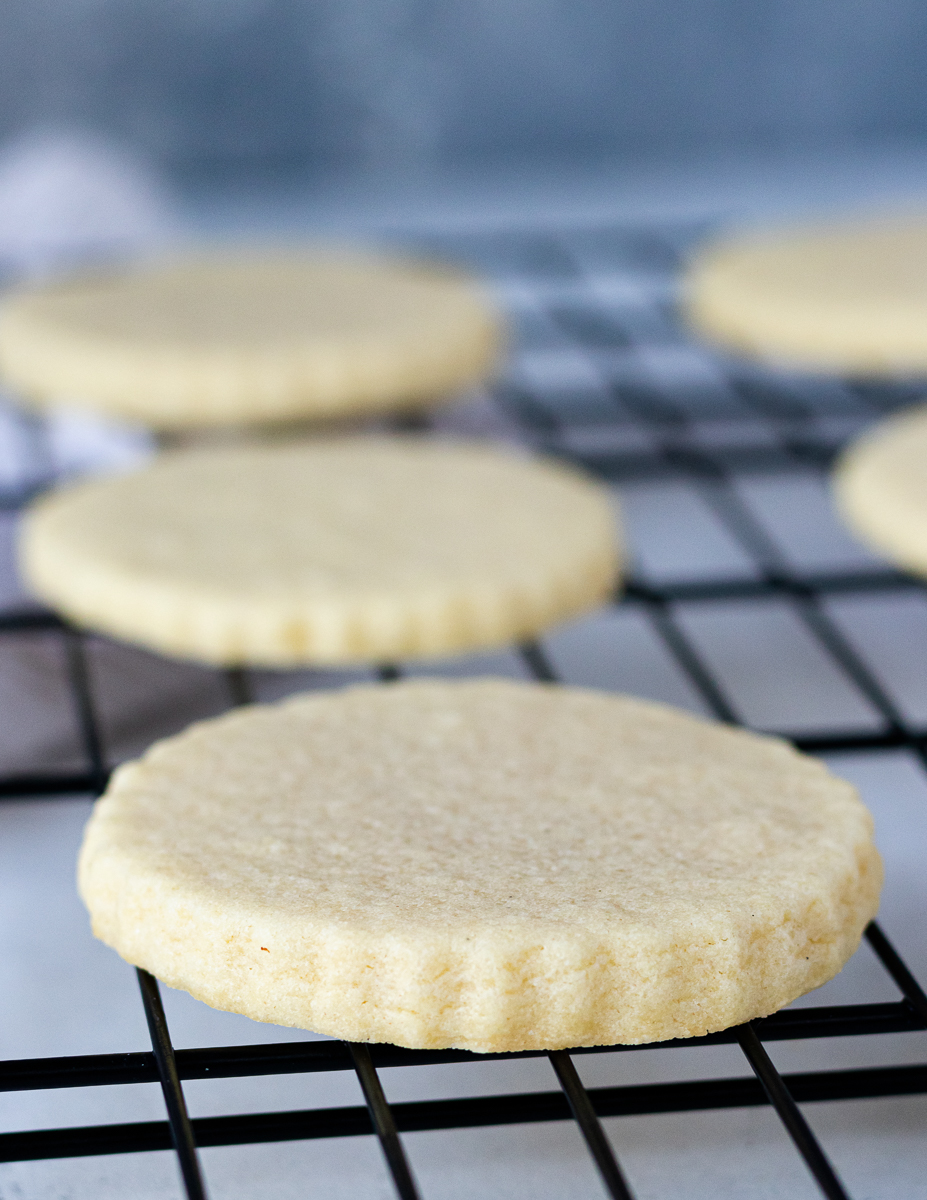 baked no chill sugar cookies on a cooling rack