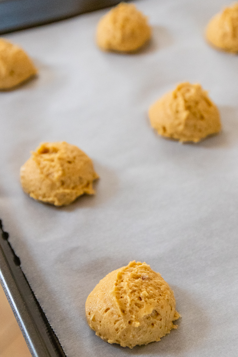 unbaked dough on cookie sheets