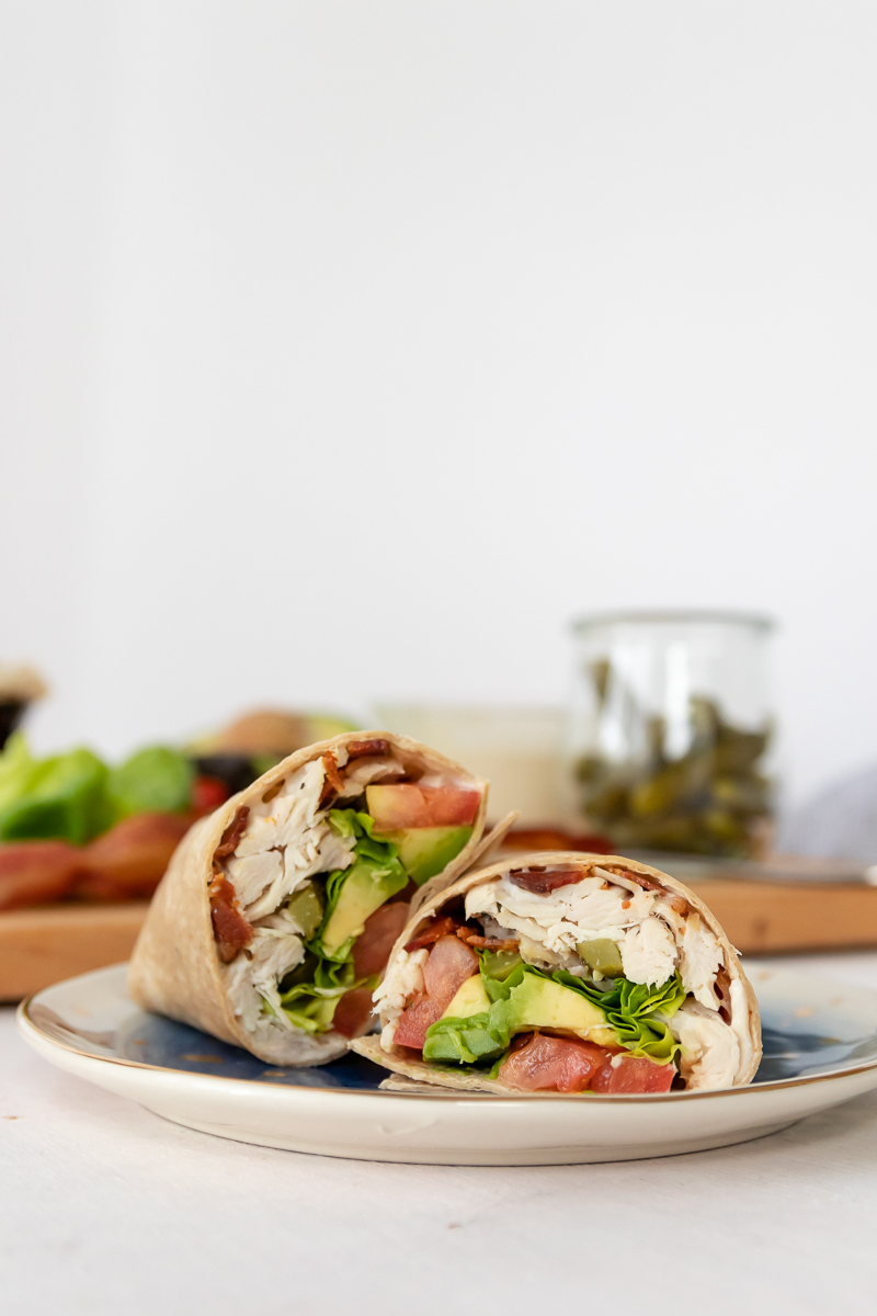 turkey bacon lettuce tomato avocado wrap on a plate