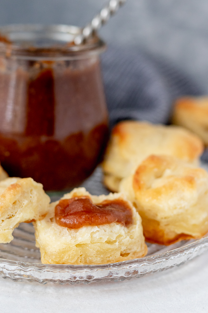 biscuit smeared with homemade apple butter - a current favorite combination!