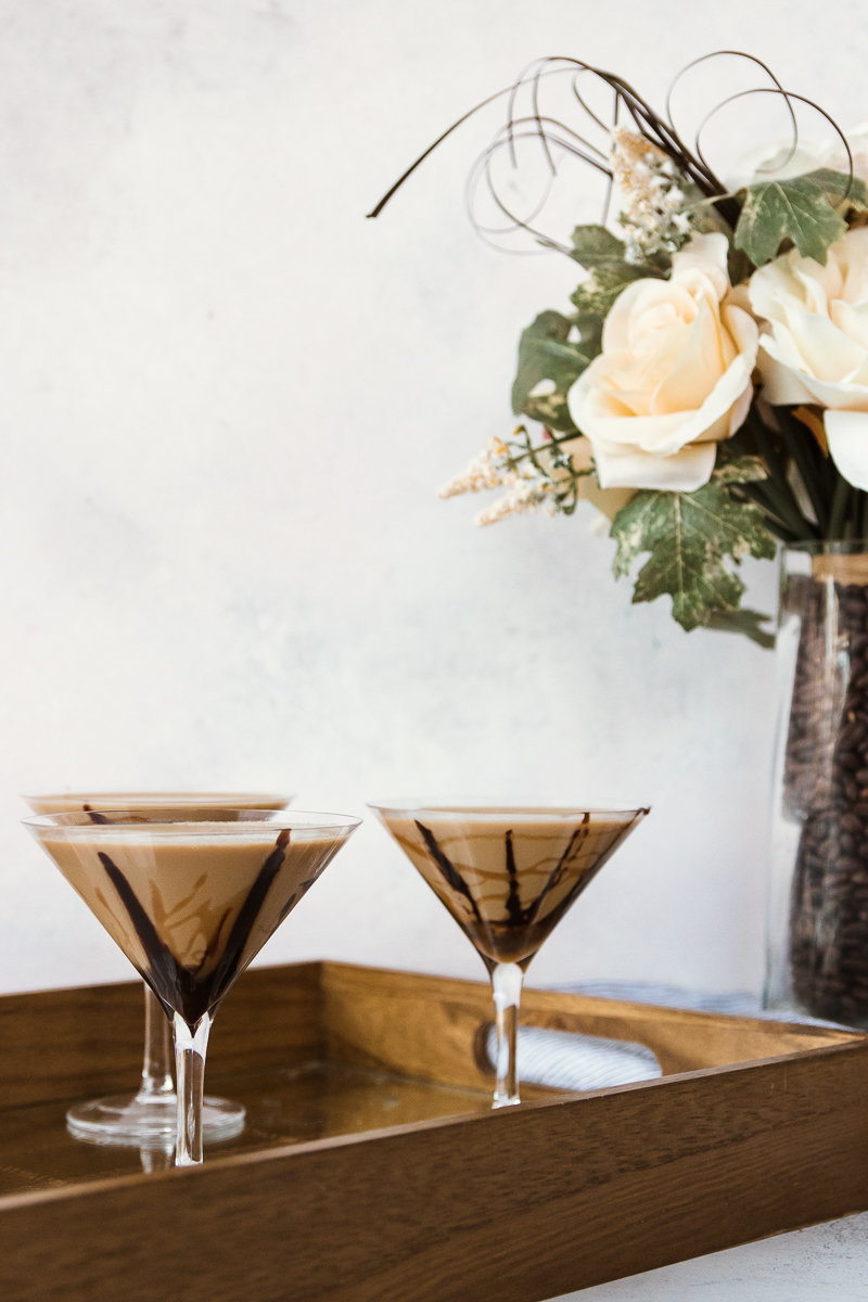 salted caramel chocolate martini on a tray