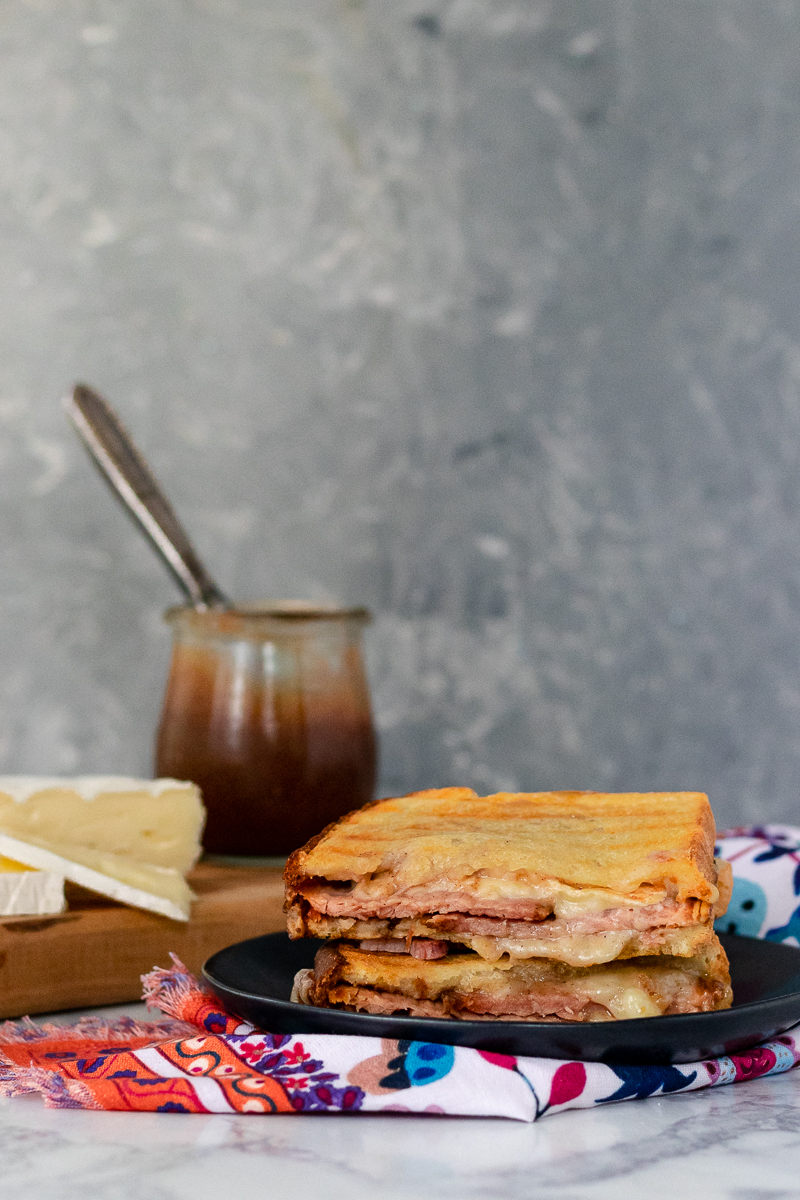 gourmet hot ham and cheese recipe - ham apple butter and brie sandwich