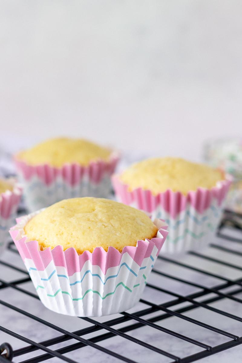 undecorated small-batch vanilla cupcakes